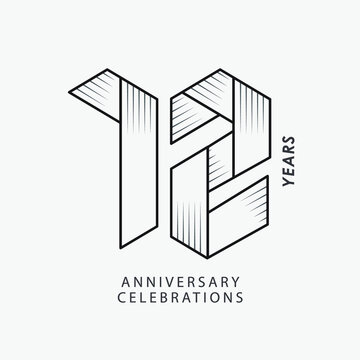 12 year anniversary vector template. Design for your celebration.