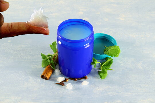 herbal ayurvedic cold rub isolated in jar for cold,cough,flu,pain analgesic,virus protection