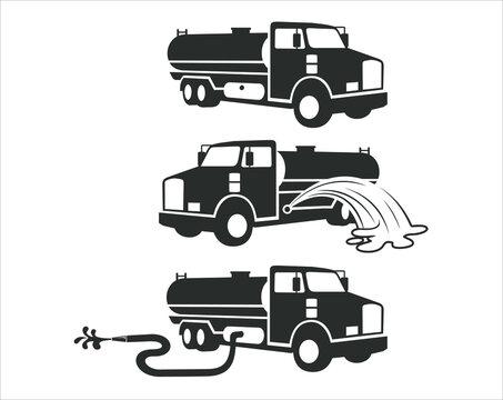 water tanker truck, vector art.