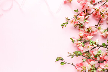 mockup greeting card. spring composition. flowering branch of azalea and space for text. congratulation. invitation
