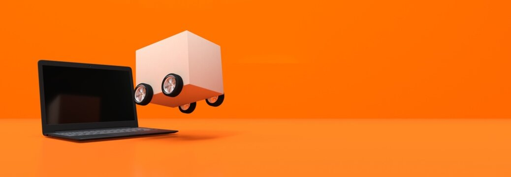We deliver, cardboard with wheels background