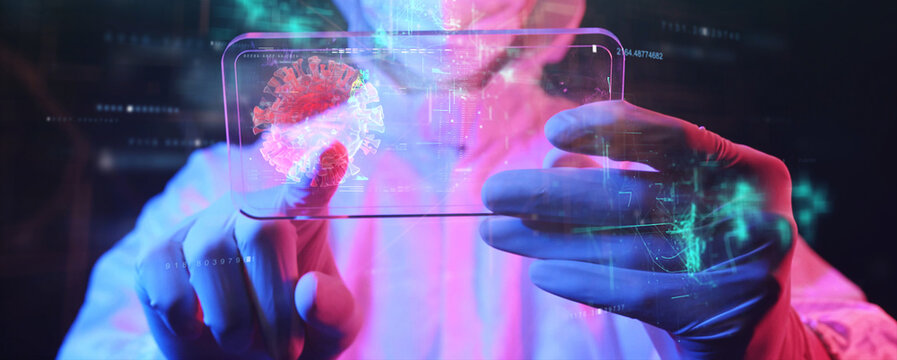 Scientist medical doctor and virus vaccine research, man in PPE suit looking at futuristic virus data info on mobile screen, medical lab future augmented reality technology analysis.