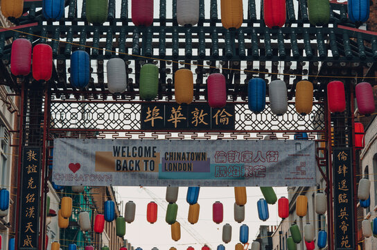 London, UK - November 19, 2020: Welcome back sign at the entrance gate to Chinatown, London, UK.