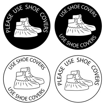 Polyethylene covering for shoes. Please, use shoe covers. Protective medical covers. Outline and glyph icons. Virus prevention icons. Vector isolated
