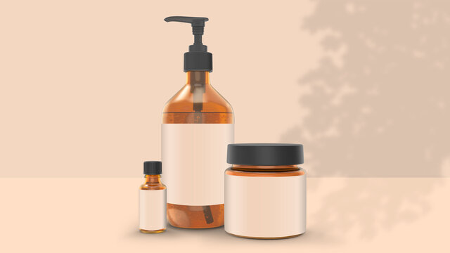 Aesop Bottle Cream and Oil Bottle Beauty Packaging Mockup Set
