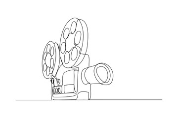 Continuous line drawing of retro old classic video player. Vintage analog movie projector item concept single one line art design graphic vector illustration