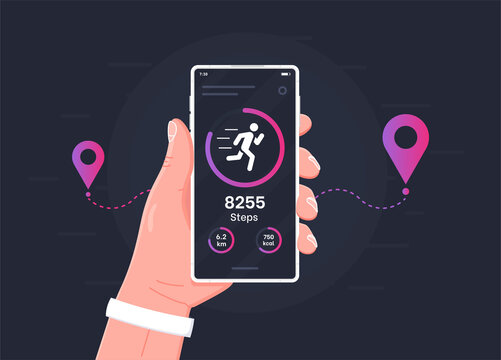 Pedometer concept.Fitness tracking app on mobile phone screen illustration flat cartoon style, smartphone with run tracker, running or walk steps counter sport tech on cellphone. Vector illustration.