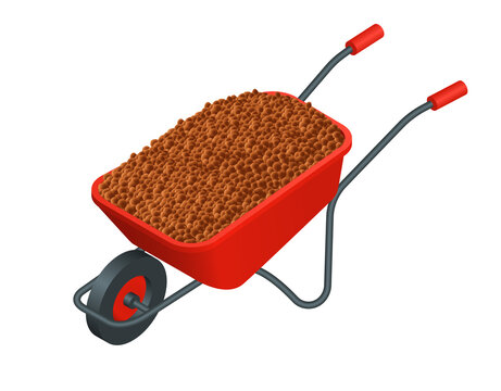 Isometric vector illustration expanded clay aggregate on wheelbarrow isolated on white background. Realistic wheelbarrow with expanded clay drainage vector icon in flat cartoon style.