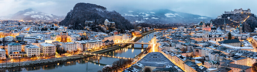 Fototapeta High Angle View Of City During Winter obraz