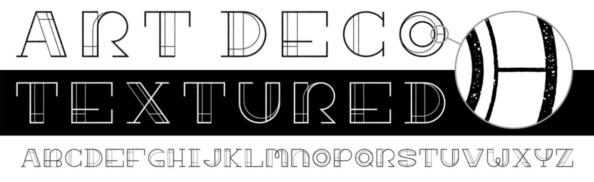 Art Deco Eroded Texture Font. A twenties style, unique design font with a detailed letterpress texture taken from high resolution scans