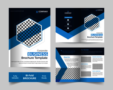 Corporate Business Bi-fold brochure template with  abstract design in A4 size