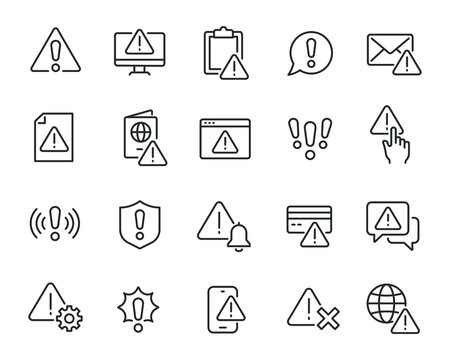 Warning icons set. Collection of linear simple web icons such as Exclamation Mark, Warning Sign, Security, Error, Attack, Stop, Notification and others. Editable vector stroke.
