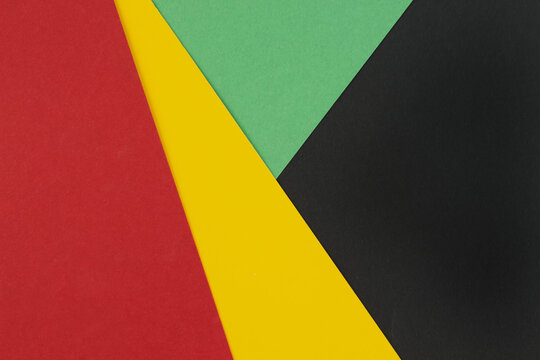 February Black History Month. Abstract Paper geometric black, red, yellow, green background. Copy space, place for your text.