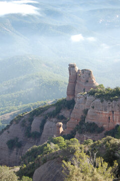 Panorama of the forests and mountains of La Mola, in Catalonia, in the province of Barcelona (Spain). Next to Montserrat. Catalonia, El Vallès