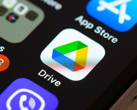 BAYONNE, FRANCE - CIRCA JANUARY 2021: Google Drive app icon on Apple iPhone screen. Google Drive is a file storage and synchronization service .