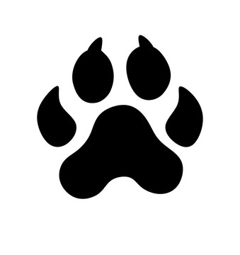 Black Vector Paw Print Silhouette Icon Drawing.Footprint,foot, footstep, animal paw mark,claw.Pet,dog,pets,doggy,kitty,puppy,pup,cat.Sticker.Laser plotter cutting design.I love dogs.