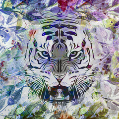 angry tiger in colorful paint splashes