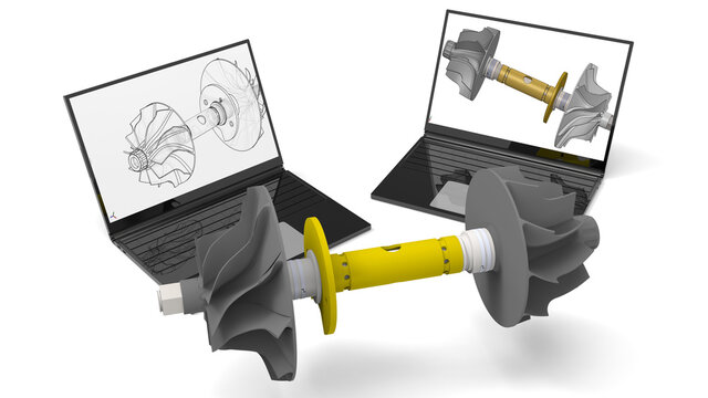 3D rendering - computer aided design shaft and turbine assembly