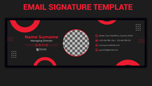 Corporate email signature template design vector with space for place photo logo information icon for business .email signatures illustration with contact phone for branding and communication