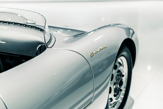 STUTTGART, Germany 6 March 2020: The Porsche 550 Spyder 1956.  Mid-engine car with an air-cooled four-cylinder engine, following the precedent of the 1948 Porsche 356/1 designed by Ferry Porsche.