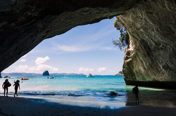 Cathedral Cove, beautiful beach with rocks in New Zealand