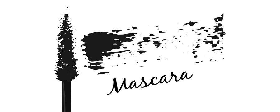 Mascara brush black swatch. Make up. Vector illustration.