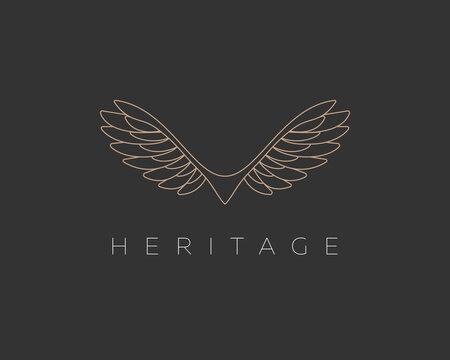 Abstract linear wings bird vector logo. Premium eagle falcon hawk sign symbol logotype.