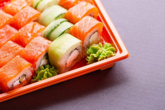 Overhead japanese sushi food. Fresh and delicious sushi Japanese food. Set of fresh rolls and sushi. Sushi menu. Image of Japanese food