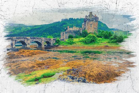Eilean Donan Castle in autumn, Scotland, watercolor painting