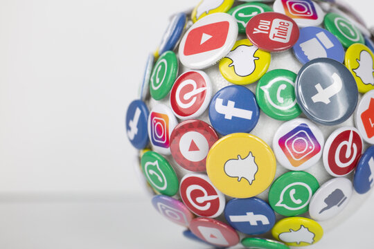 social media like facebook for advertising, social networks and worldwide networking as centre of culture and lifestyle