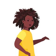 Wall Mural - beautiful african american girl cute child female cartoon character portrait vector illustration