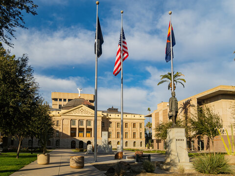 Exterior view of the Arizona State Capitol and Memorial Lt. Frank Luke Jr. Statue
