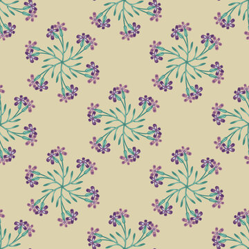 Seamless geometrical floral pattern with ornate round mandalas made of stylized meadow blossom.