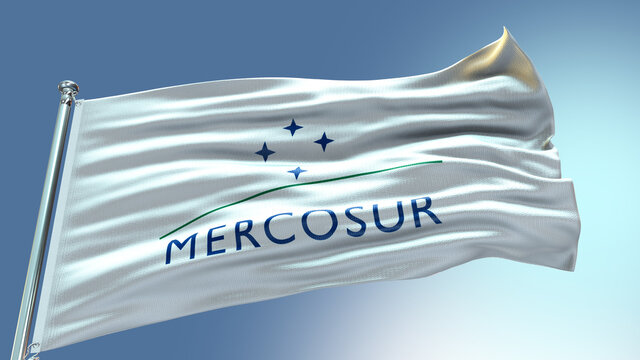 Mercosur waving flag  with texture in blue sky background