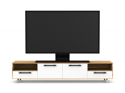 tv stand on white background. Isolated 3D illustration