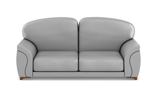 gray sofa on white background. Isolated 3D illustration