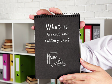 Business concept meaning Assault and Battery Law? with phrase on the piece of paper.