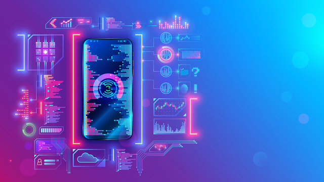 Mobile application development technology concept. Coding, programming apps for smartphones and mobile devices. Engineering or build of user interface layout cell phone. Mobile software of web service