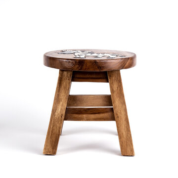 Small wooden child stool with zebra decoration