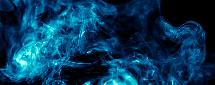 Blue smoke isolated on black background.