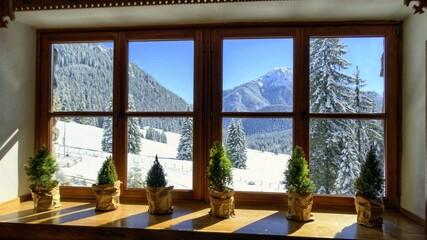 Fototapeta Zima w Tatrach, góry w śnieżnej scenerii, śnieg, mróz
