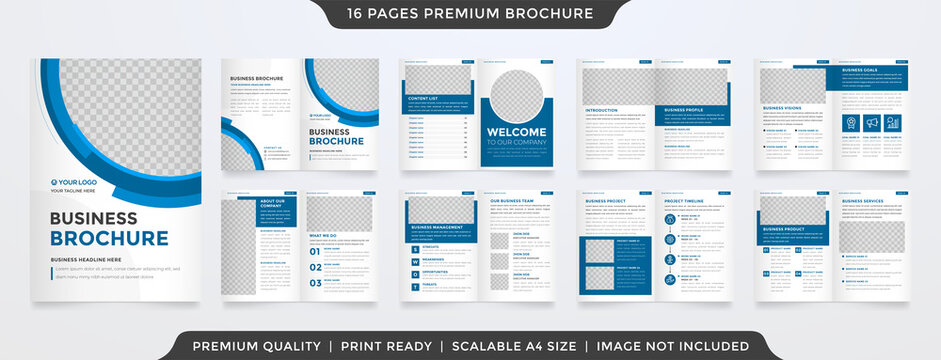 minimalist bifold brochure template with modern layout and clean style use for business proposal and annual report