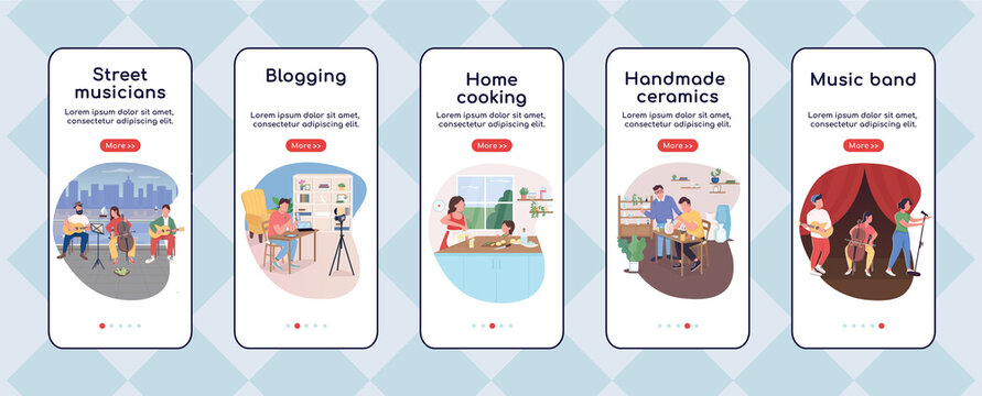 Creative hobby onboarding mobile app screen flat vector template. Doing things that you love. Walkthrough website steps with characters. UX, UI, GUI smartphone cartoon interface, case prints set