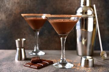 Delicious chocolate martini in a glasses.
