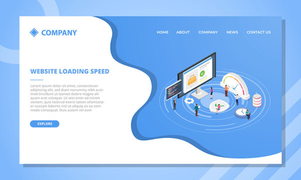 website loading speed concept for website template or landing homepage design with isometric style