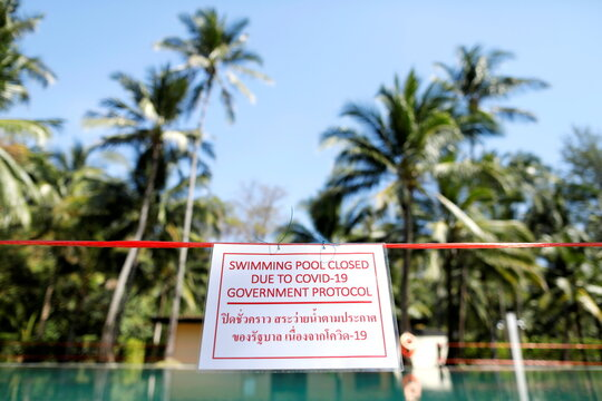 Hotel swimming pool is seen closed in Trat province, Koh Chang island