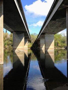 Two concrete bridges over the american river in Sacramento