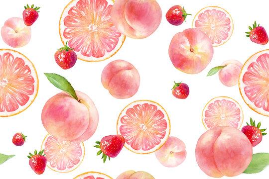 ピンク色のジューシーなフルーツのシームレスパターン。水彩イラスト。(モモ、イチゴ、グレープフルーツ)