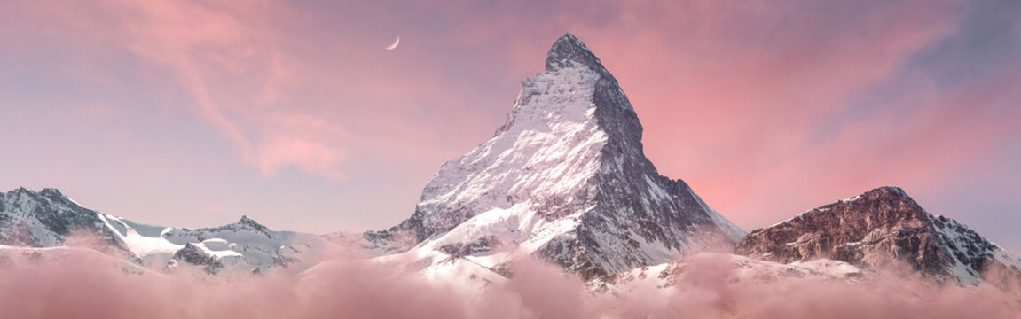 panoramic view to the majestic Matterhorn mountain in the evening mood