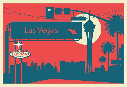 Las Vegas skyline postcard